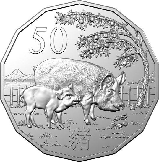 10046 Reverse of the 2019 50c Uncirculated Tetra-Decagon Lunar Year of the Pig Coin