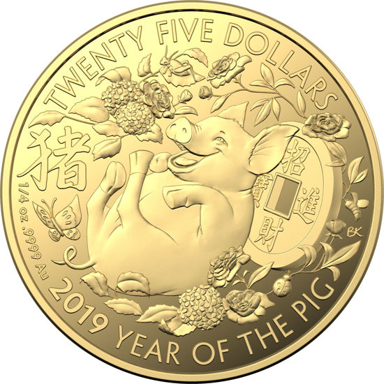 10040 Reverse of the 2019 $25 1/4oz Gold Proof Year of the Pig Coin