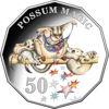 10093 Reverse of the 2019 50 cent coloured proof coin Possum Magic