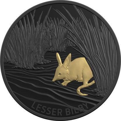 10173 Reverse of the 2019 $5 Plated Silver Proof - Echoes of Australian Fauna - Lesser Bilby Coin