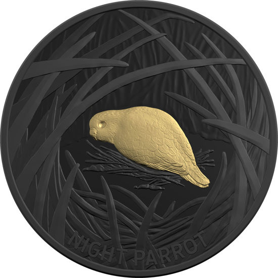 10174 Reverse of the 2019 $5 Plated Silver Proof - Echoes of Australian Fauna - Night Parrot Coin