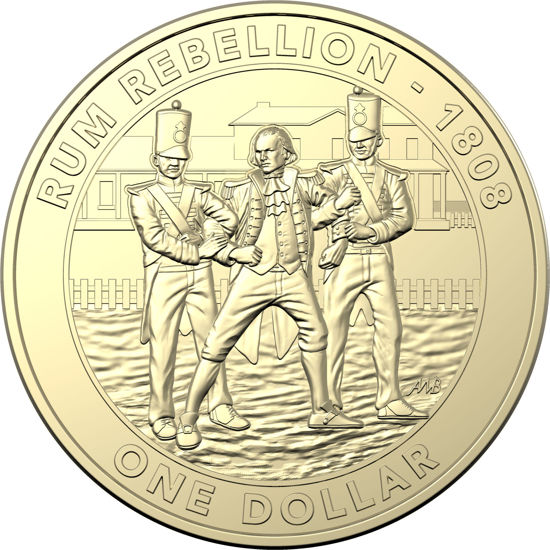 10186 Reverse of the 2019 one dollar uncirculated Mutiny and Rebellion Rum Rebellion Coin