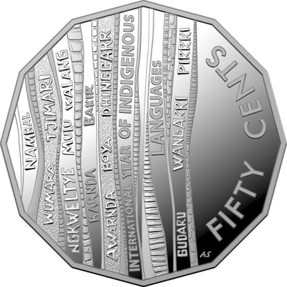 10153 Reverse of the 2019 50 cent fine silver proof International Year of Indigenous Languages Coin