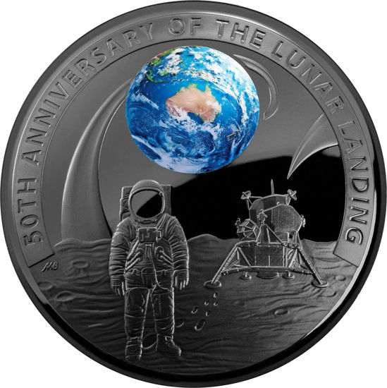 10132 Reverse of the 2019 50th Anniversary Moon Landing $5 Plated Silver Proof Domed Coin
