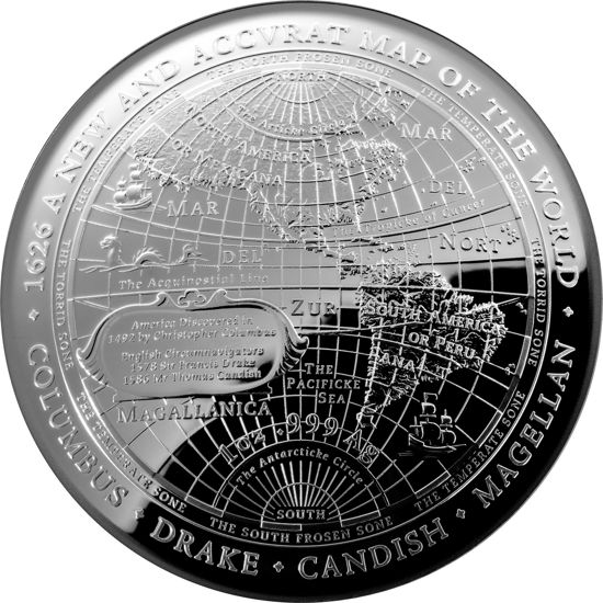 10141 Reverse of the 2019 $5 Fine Silver Proof Domed Coin 1626 A New Map of the World