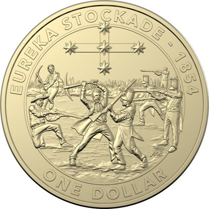 10188 Reverse of the 2019 one dollar uncirculated Mutiny and Rebellion Eureka Stockade Coin
