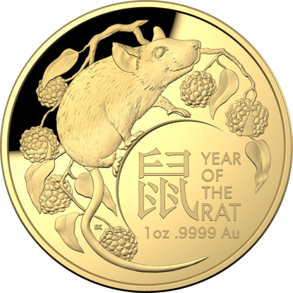 2020 $100 Year of the Rat Gold Domed Coin - Reverse