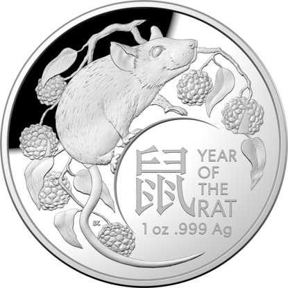 2020 $5 Year of the Rat Fine Silver Proof Domed Coin - Reverse