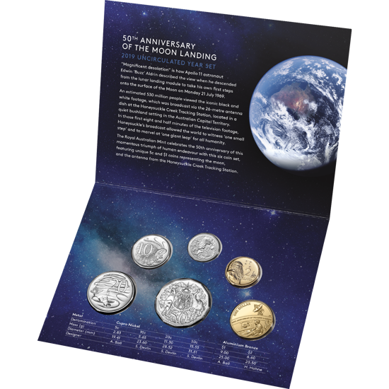 10091 Packaging of the 2019 fiftieth anniversary of the moon landing Six Coin unc year set
