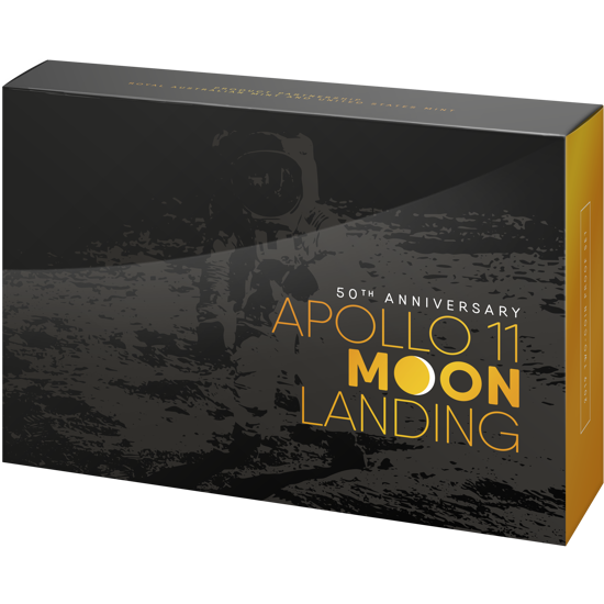 10283 Packaging of the 2019 Apollo 11 Moon Landing 50th Anniversary US Mint and RAMINT Partnership Two-Coin Proof Set