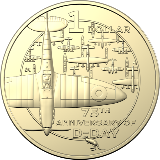 10401 Reverse of the Australia 1 Dollar - 75th Anniversary of D-Day 2019 Uncirculated Four-Coin Set
