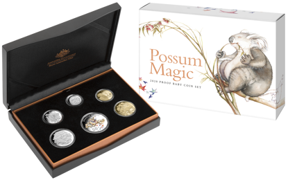 10274 Packaging of the 2020 6 Coin Baby Proof Set Possum Magic