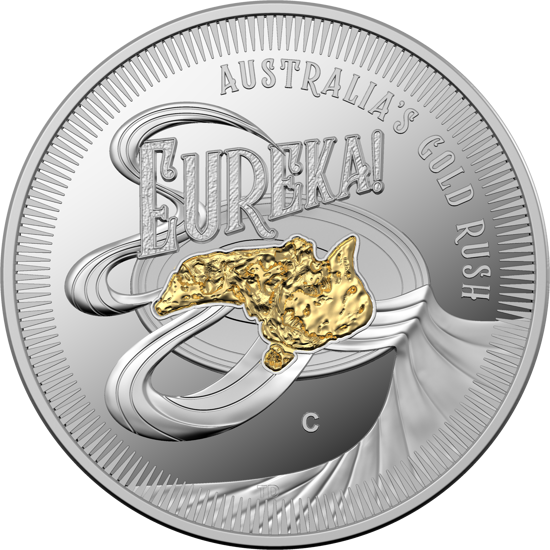 10286 Reverse of the 2020 $1 Silver Selectivly Gold Plated 'C' Mintmark Proof Eureka! Austraila's Gold Rush Coin