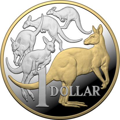 Reverse 2020 $1 5oz Fine Silver Gold Plated Mob of Roos Proof Coin