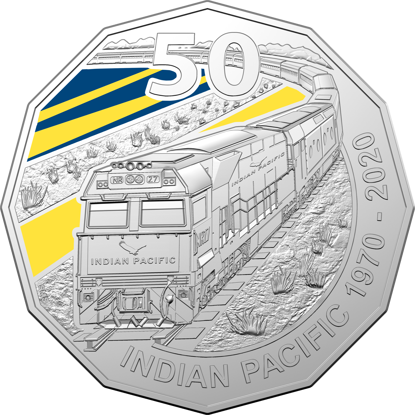 10475 Reverse 2020 50c Coloured Uncirculated 50th Anniversary of the Indian Pacific Coin
