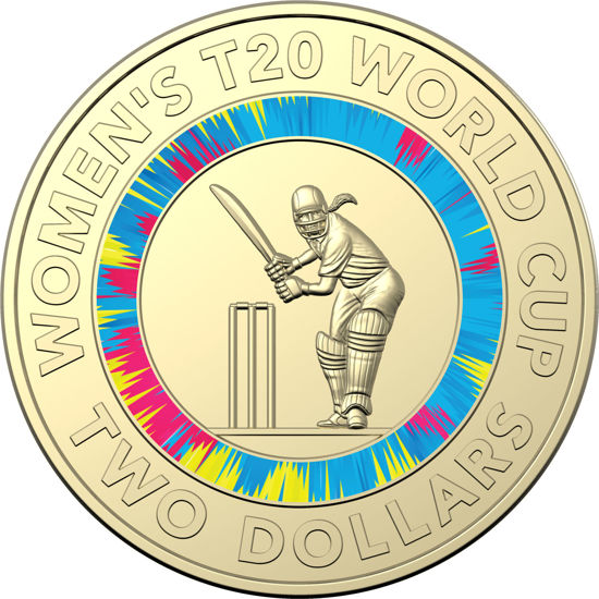 10509 Reverse of 2020 $2 Coloured Uncirculated Coin - ICC Women's T20 World Cup
