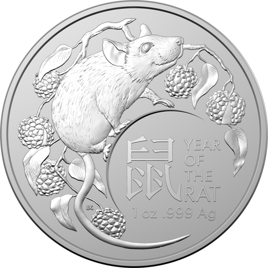10478 2020 $1 Silver Investment Coin - Year of the Rat - Reverse