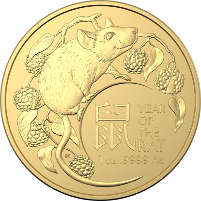10479 2020 $100 Gold Investment Coin - Year of the Rat - Reverse