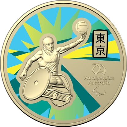 Reverse of 10397 2020 $1 Australian Paralympic Team Ambassador Coloured Frunc Coin