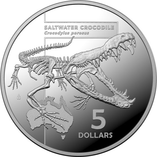 Reverse of 10376 2020 $5 Silver Saltwater Crocodile Proof Coin