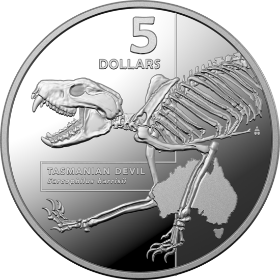 Reverse of 10377 2020 $5 Silver Tasmainian Devil Proof Coin
