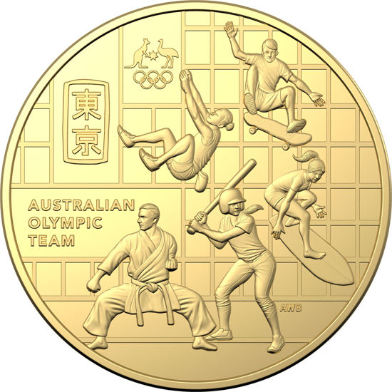 Reverse of 10411 2020 50c Australian Olympic Team Round Gold Plated Unc Coin