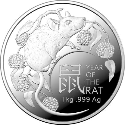 10492 Year of the Rat 2020 $30 1kg Fine Silver Proof Coin