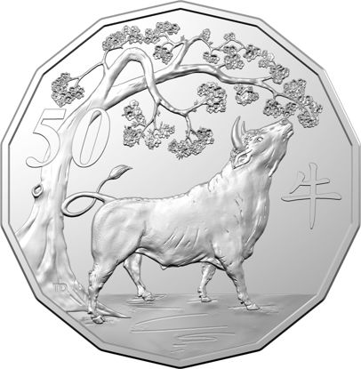 2021 Lunar Year of the Ox 50c Tetradecagon Obverse