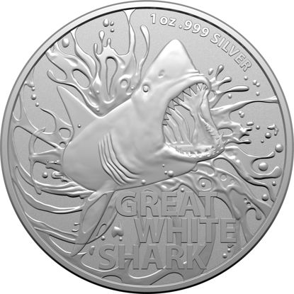 2021 $1 Silver Investment Coin Great White Shark