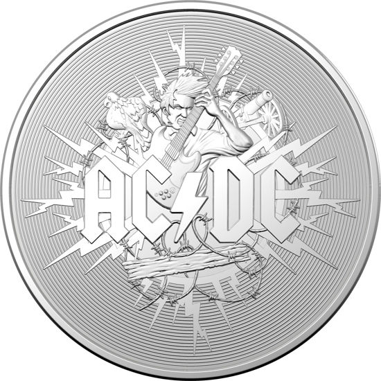 2021 $1 Silver Frosted Uncirculated  AC/DC Coin