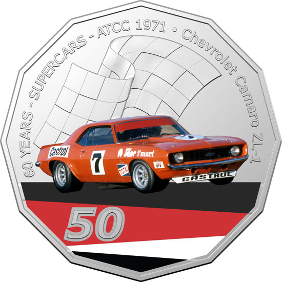 2020 50c Coloured Uncirculated Camero ZL-1
