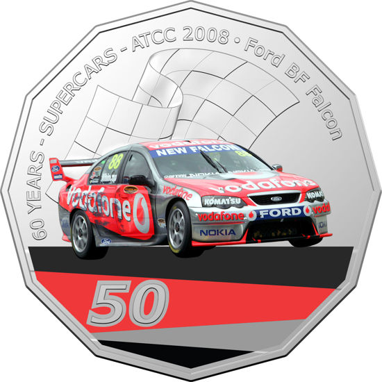 2020 50c Coloured Uncirculated Ford BF Falcon Coin